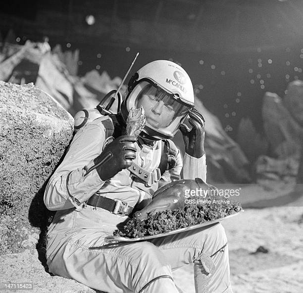 During production of Men Into Space episode 'First Woman on the Moon' featuring William Lundigan holding a turkey drumstick Image dated October 14...