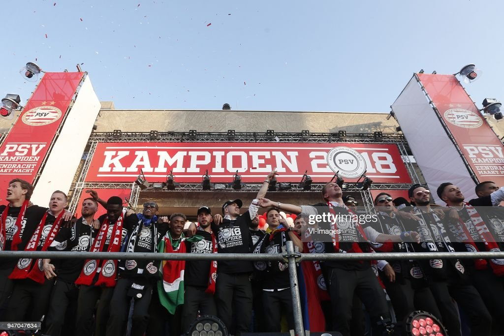 during PSV honored as Dutch Eredivisie champion at Stadhuisplein on April 15, 2018 in Eindhoven, The Netherlands