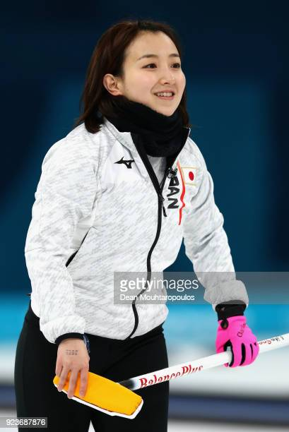 during Satsuki Fujisawa of Japan competes the Curling Womens' bronze Medal match on day fifteen of the PyeongChang 2018 Winter Olympic Games at...