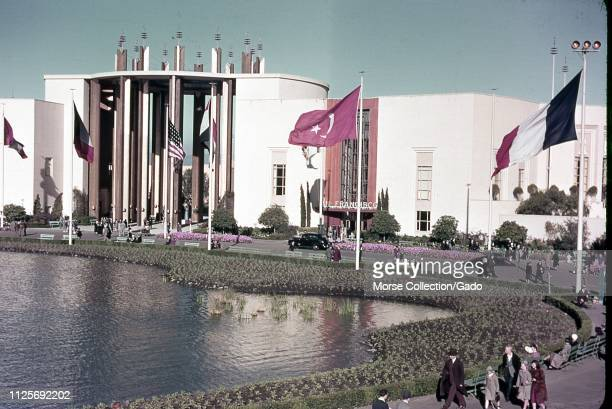 During the 1939 Golden Gate International Exposition or World's Fair on Treasure Island in San Francisco, California, flags of several nations are...
