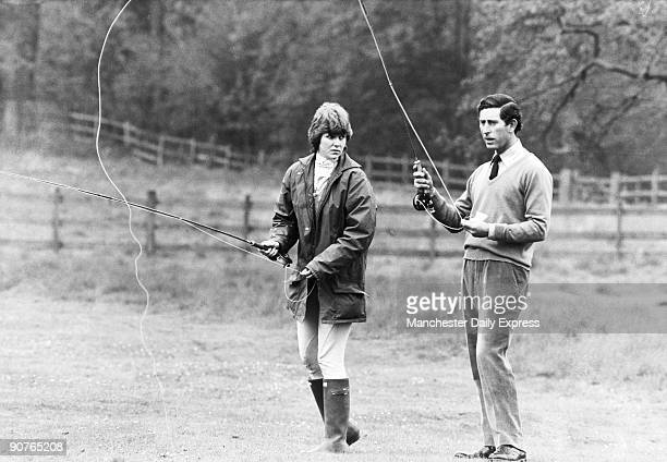 During the 1970s Prince Charles was an eligible bachelor romantically linked to a series of young women He is seen here angling with Caroline Worsley