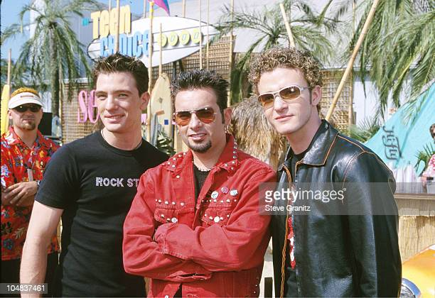 NSYNC during The 2000 Teen Choice Awards at Barker Hanger in Santa Monica California United States