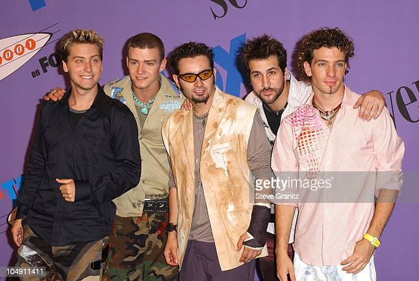 NSYNC during The 2001 Teen Choice Awards Press Room at Universal Amphitheater in Universal City California United States