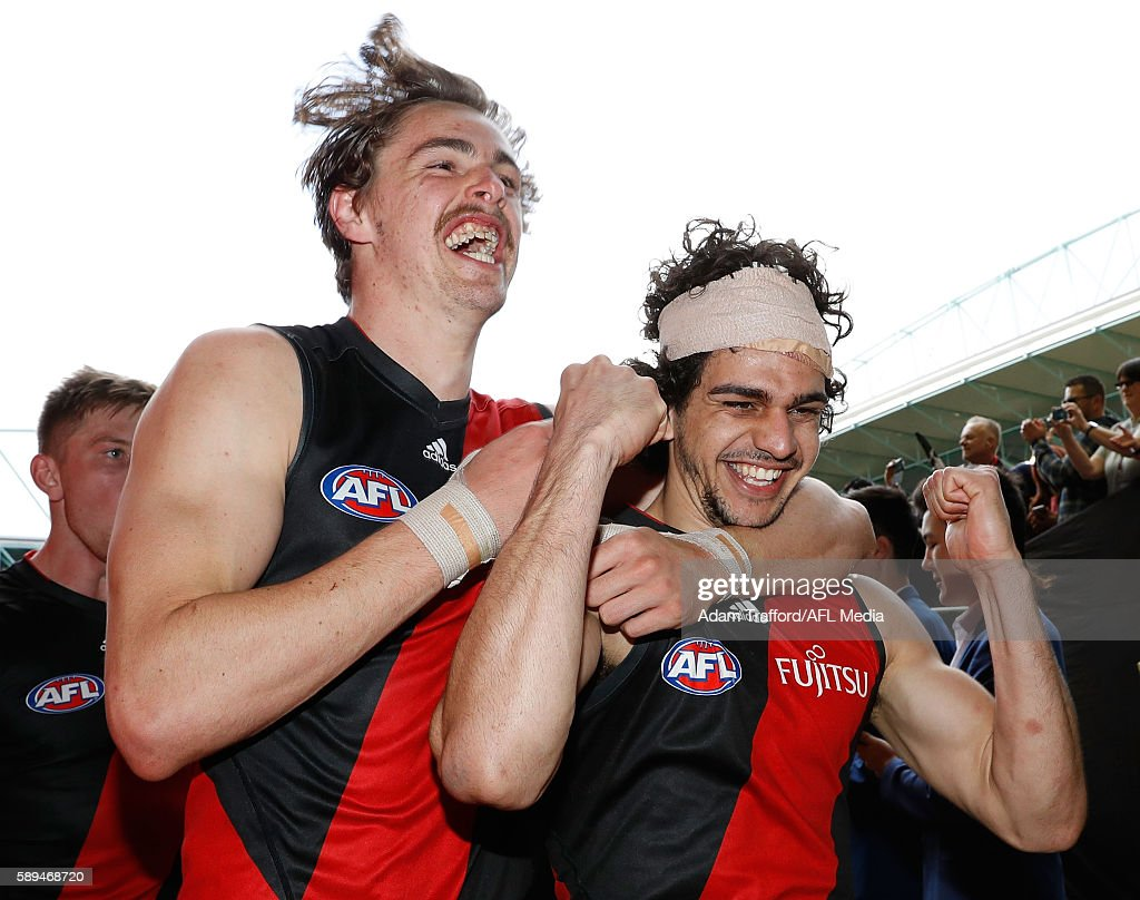 during the 2016 AFL Round 21 match between the Essendon Bombers and the Gold Coast Suns at Etihad Stadium on August 14, 2016 in Melbourne, Australia.