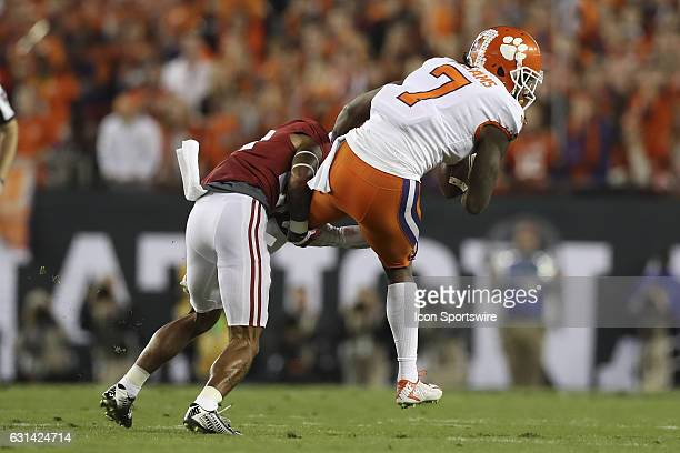 during the 2017 College Football National Championship Game between the Clemson Tigers and Alabama Crimson Tide on January 9 at Raymond James Stadium...