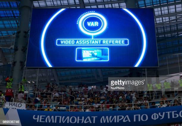 VAR during the 2018 FIFA World Cup Russia Round of 16 match between Croatia and Denmark at Nizhny Novgorod Stadium on July 1 2018 in Nizhny Novgorod...