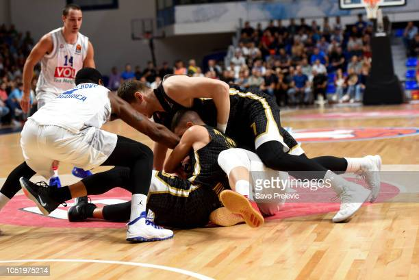 During the 2018/2019 Turkish Airlines EuroLeague Regular Season Round 1 game between Buducnost Voli Podgorica and AX Armani Exchange Olimpia Milan at...