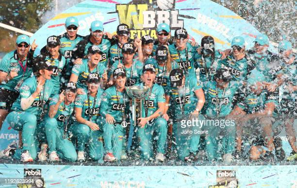 during the 2019 Women's Big Bash League Final match between the Brisbane Heat and the Adelaide Strikers at Allan Border Field on December 08 2019 in...