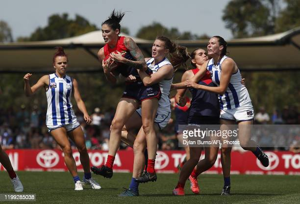 During the 2020 AFLW Round 01 match between the Melbourne Demons and the North Melbourne Kangaroos at Casey Fields on February 8, 2020 in Melbourne,...
