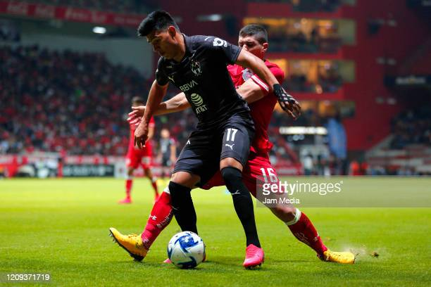 During the 8th round match between Toluca and Monterrey as part of the Torneo Clausura 2020 Liga MX at Nemesio Diez Stadium on February 28, 2020 in...