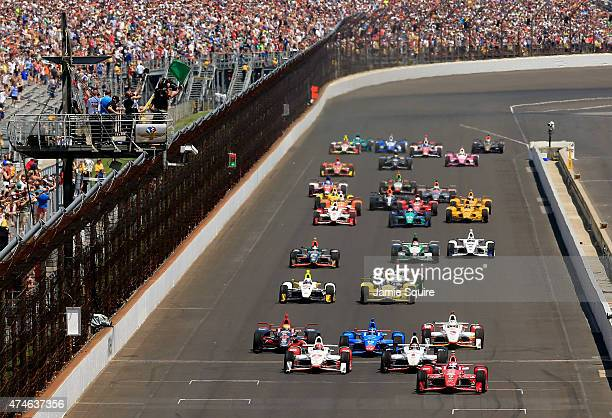 during the 99th running of the Indianapolis 500 at Indianapolis Motorspeedway on May 23 2015 in Indianapolis Indiana