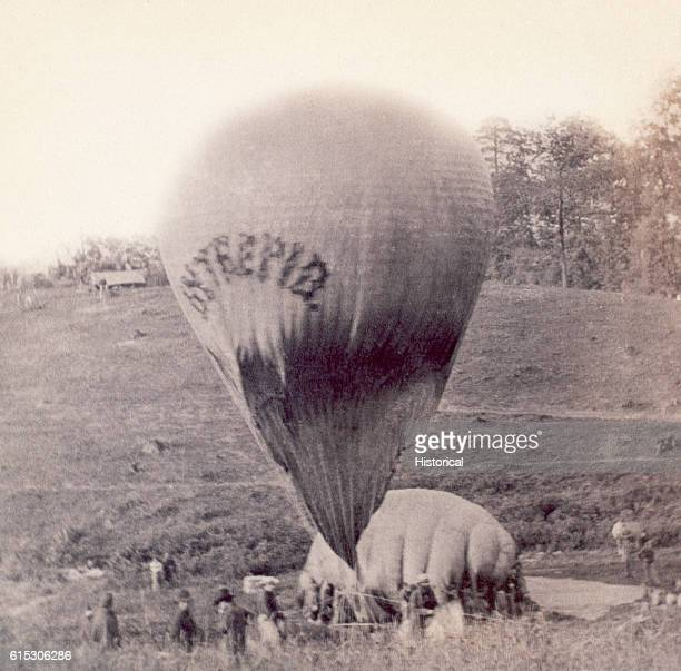 During the American Civil War hot air balloons were used for observation purposes Here Professor TS Lowe prepares the Intrepid on Gaines's Hill for a...