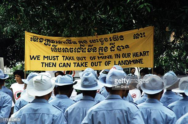 During the annual Landmine Awareness Day in Cambodia the deminers from the Cambodian Mine Action Center wait for the Queen of Cambodia to arrive. I...