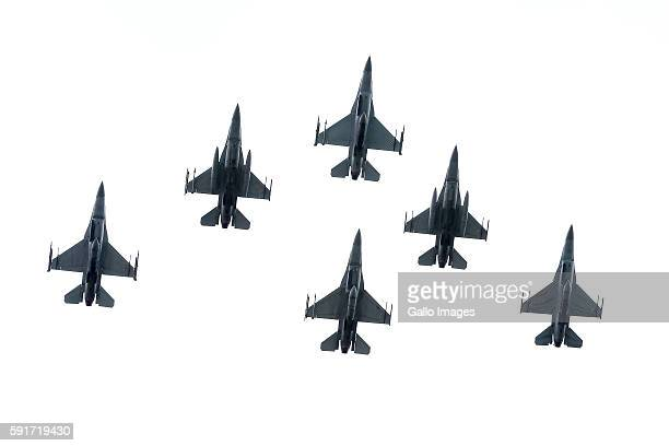 F16 during the Armed Forces Day on August 15 2016 in Warsaw Poland August 15 is a national holiday commemorating the anniversary of the 1920 victory...