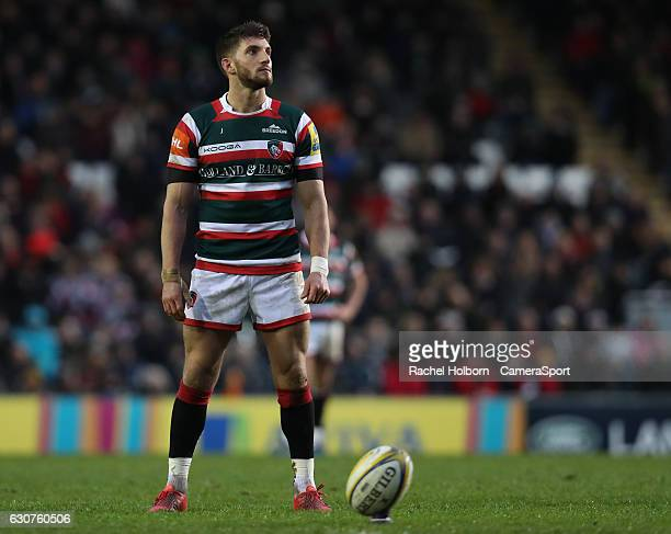 Leicester Tigers' Owen Williams kicks his sides second penalty LEICESTER ENGLAND JANUARY 01 during the Aviva Premiership match between Leicester...