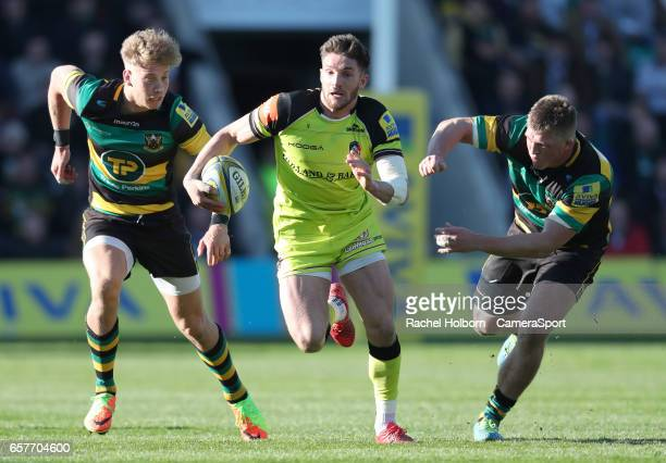 Leicester Tigers' Owen Williams NORTHAMPTON ENGLAND MARCH 25 during the Aviva Premiership match between Northampton Saints and Leicester Tigers at...