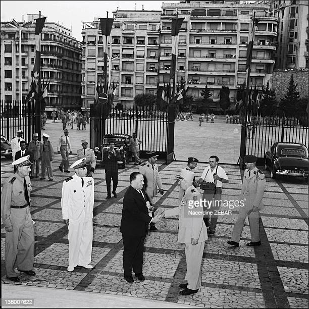 During the Battle of Algiers Governor General Robert Lacoste and General Raoul Salan Commander in Chief in Algeria shaking hands at the Goverment...