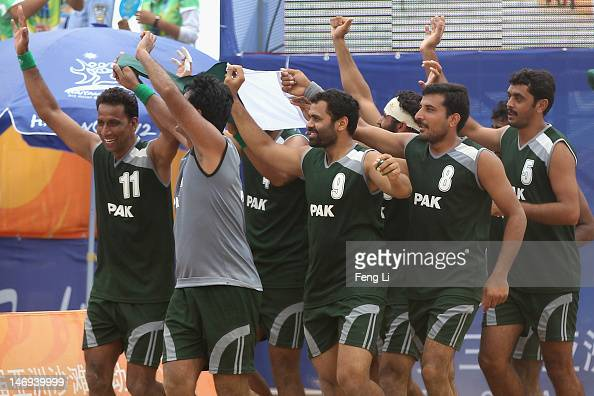 during the Beach Handball Men's Team Finals Bronze Medal ...
