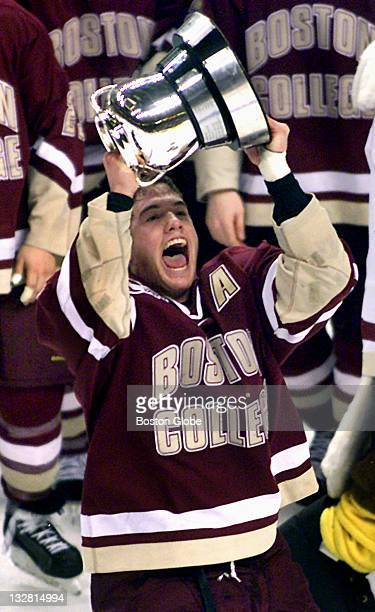 During the Beanpot Championship game Boston College's senior defenseman Bobby Allen takes his turn with the Beanpot after the Eagles finally wrested...
