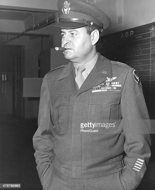 During the Berlin Airlift Lt General Curtis E LeMay waits at Tempelhof Air Base Berlin Germany October 1948