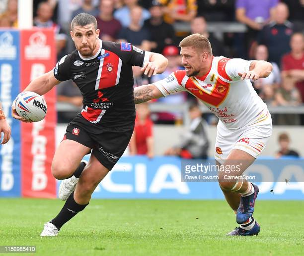During the Betfred Super League Round 23 match between Salford Red Devils and Catalans Dragons at AJ Bell Stadium on July 21, 2019 in Salford,...