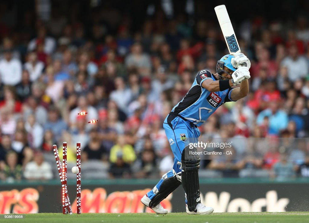 during the Big Bash League match between the Melbourne Renegades and the Adelaide Strikers at Etihad Stadium on January 22, 2018 in Melbourne, Australia.