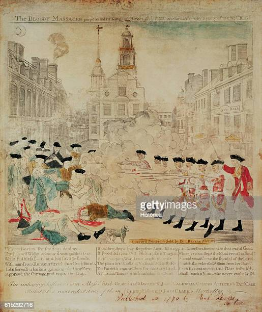 During the Boston Massacre of March 5 redcoated British soldiers shoot American colonists rioting in protest of the Townshend Acts The riots occurred...