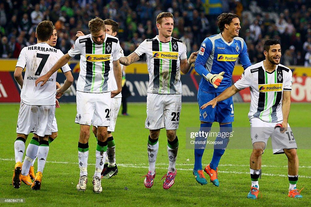 during the Bundesliga match between Borussia Moenchengladbach and 1899 Hoffenheim at Borussia Park Stadium on November 2, 2014 in Moenchengladbach, Germany. The match between Moenchengladbach and Hoffenheim ended 3-1.