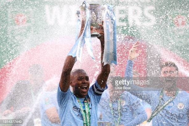During the Carabao Cup Final between Manchester City and Tottenham Hotspur at Wembley Stadium on April 25, 2021 in London, England. 8,000 fans are...