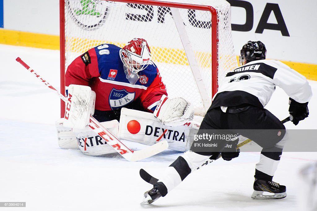 during the Champions Hockey League Round of 32 match between IFK Helsinki and TPS Turku at Helsingin Jaahalli on October 11, 2016 in Helsinki, Finland.
