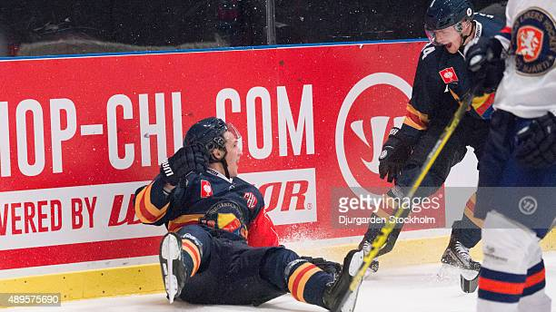During the Champions Hockey League round of thirty-two game between Djurgarden Stockholm and Vaxjo Lakers at Hovet Arena on September 22, 2015 in...
