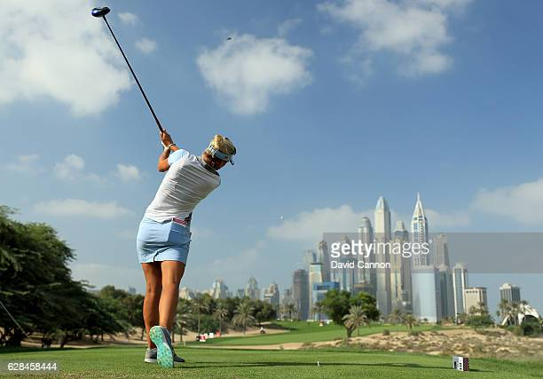 During the completion of the first round of the 2016 Omega Dubai Ladies Masters on the Majlis Course at the Emirates Golf Club on December 8, 2016 in...
