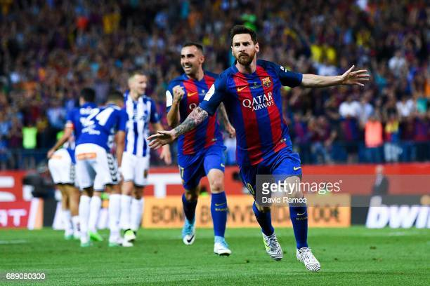 during the Copa Del Rey Final between FC Barcelona and Deportivo Alaves at Vicente Calderon stadium on May 27 2017 in Madrid Spain
