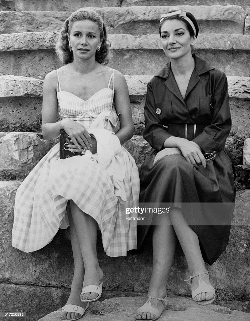 Athina Onassis and Maria Callas Sitting Together on Steps : News Photo