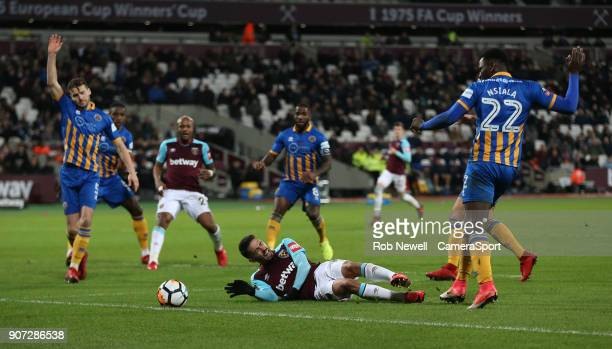 during The Emirates FA Cup Third Round Replay match between West Ham United and Shrewsbury Town at London Stadium on January 16 2018 in London England