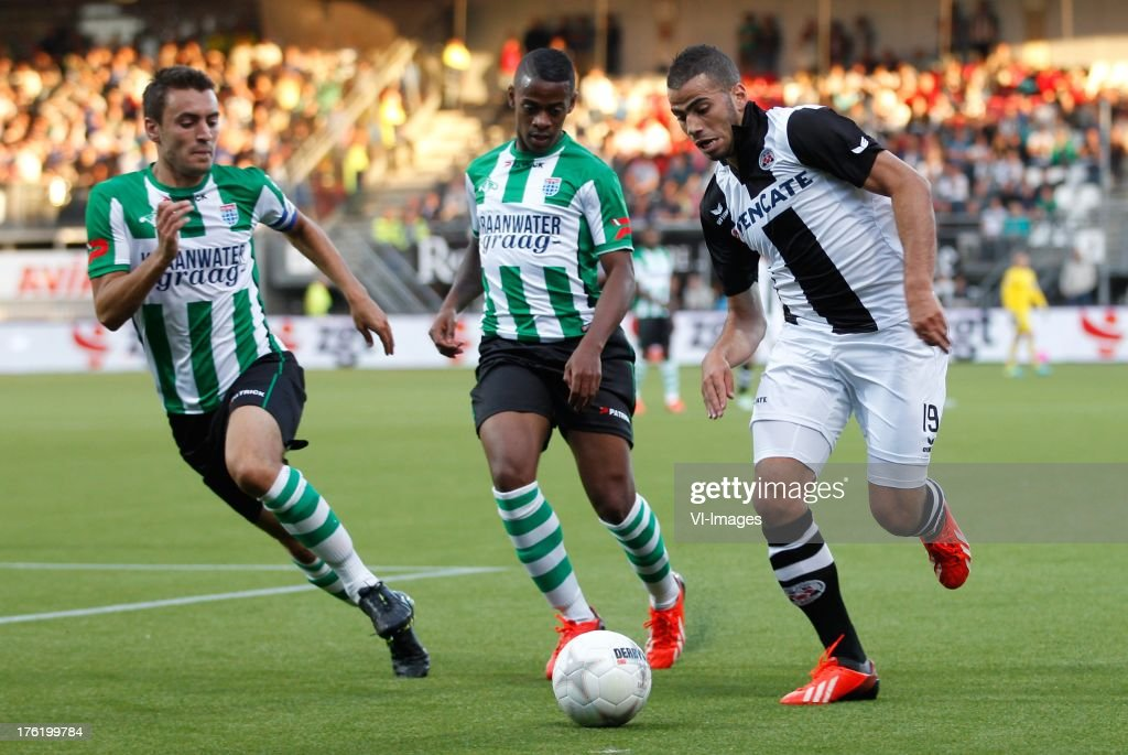 during the Eredivisie match between Heracles Almelo and PEC Zwolle on August 10, 2013 at the Polman stadium at Almelo, The Netherlands.