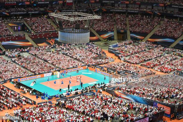 during the European Men's Volleyball Championships 2017 match between Poland and Serbia on August 24 2017 in Warsaw Poland