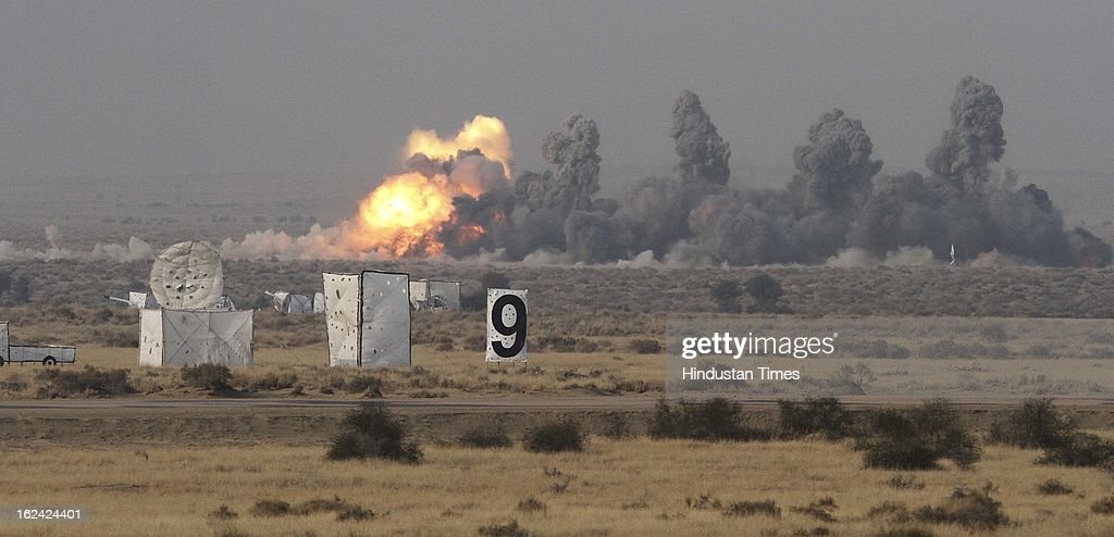 AN-32 -IAF during the exercise Iron Fist -2013 at firing range in Pokhran on February 22, 2013 in Jaisalmer, India.