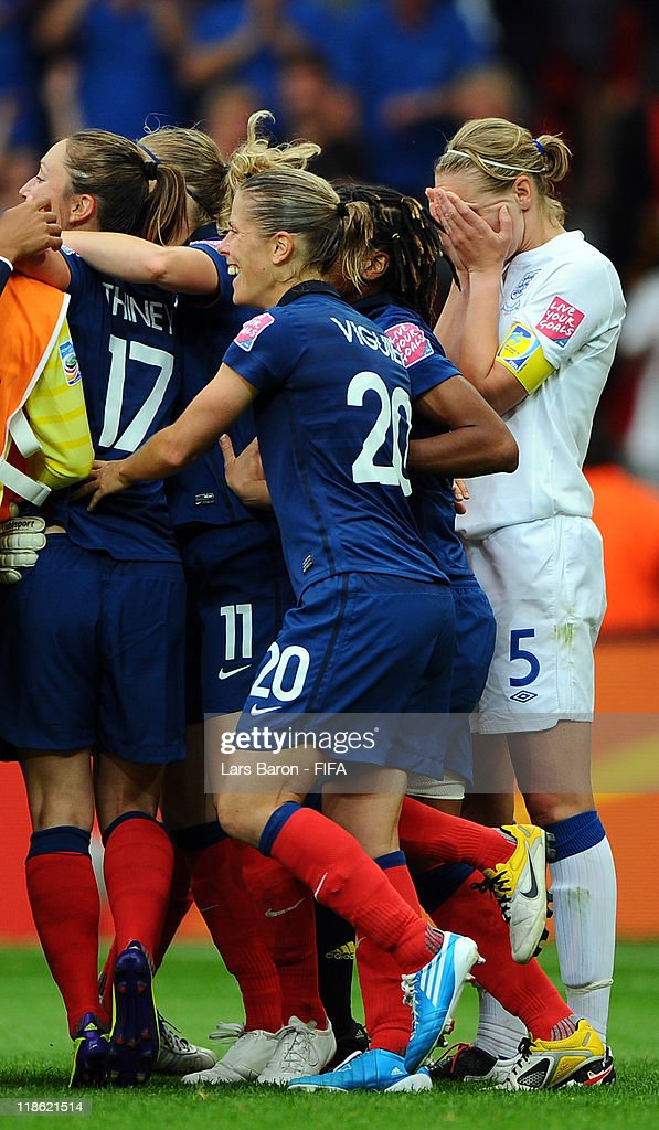 during the FIFA Women's World Cup 2011 Quarter Final match between England and France at the FIFA Women's World Cup Stadium Leverkusen on July 9, 2011 in Leverkusen, Germany.