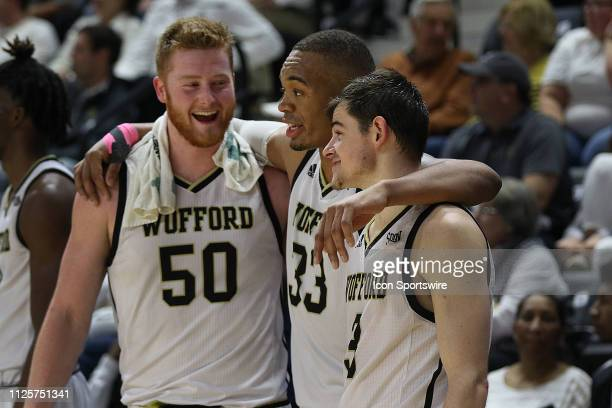 During the final moments of the last home game of the season the seniors Matthew Pegram center of WoffordCameron Jackson forward of Wofford Fletcher...