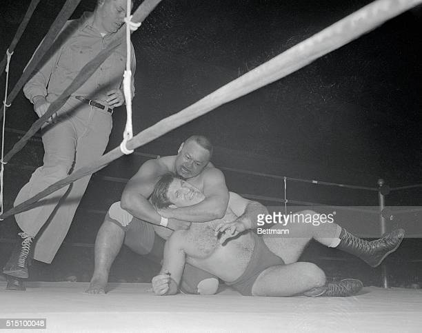 During the final wrestling show at the old Madison Square Garden on January 29th, professor Taro Tanaka of Japan had a strangle hold on Bruno...