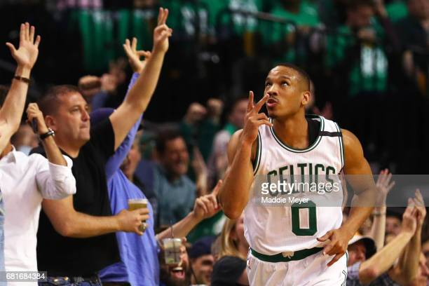 Avery Bradley of the Boston Celtics celebrates after hitting a three point shot against the Washington Wizards during the second quarter of Game Five...