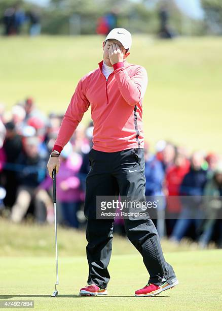 During the First Round of the Dubai Duty Free Irish Open Hosted by the Rory Foundation at Royal County Down Golf Club on May 28, 2015 in Newcastle,...