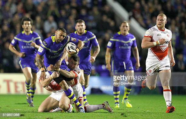 during the First Utility Super League match between Warrington Wolves and St Helens at Halliwell Jones Stadium on April 08 2016 in Warrington England