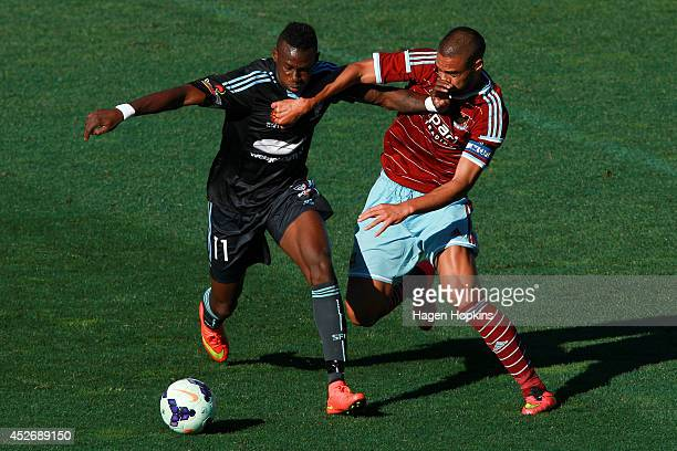 during the Football United New Zealand Tour 2014 match between Sydney FC and West Ham United at Westpac Stadium on July 26 2014 in Wellington New...