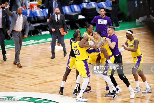 during the fourth quarter at TD Garden on February 07 2019 in Boston Massachusetts The Lakers defeat the Celtics 129128 NOTE TO USER User expressly...