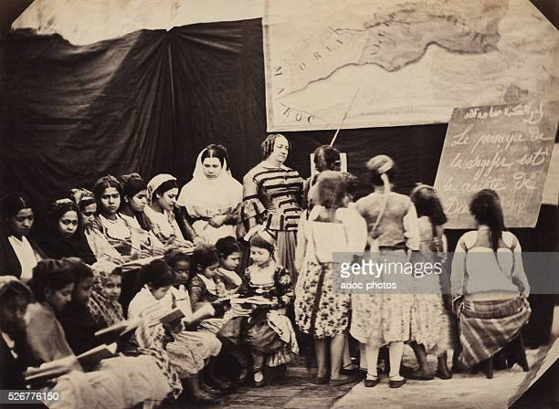 girls classroom conducted by Madame Luce in Algiers On the blackboard 'The wisdom rule is the fear of God' Ca 1865