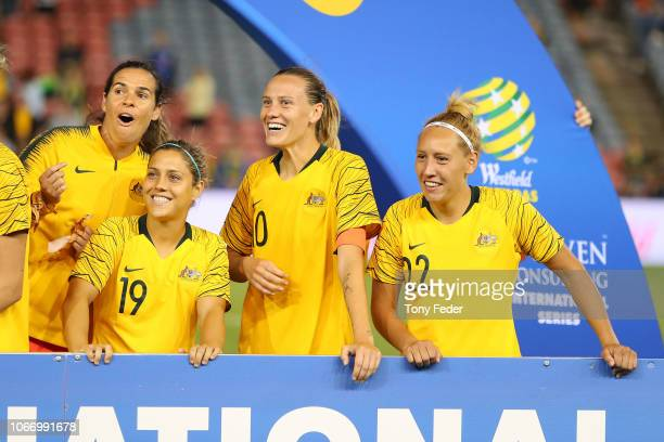 During the International Women's Friendly match between the Australian Matildas and Chile at McDonald Jones Stadium on November 13, 2018 in...