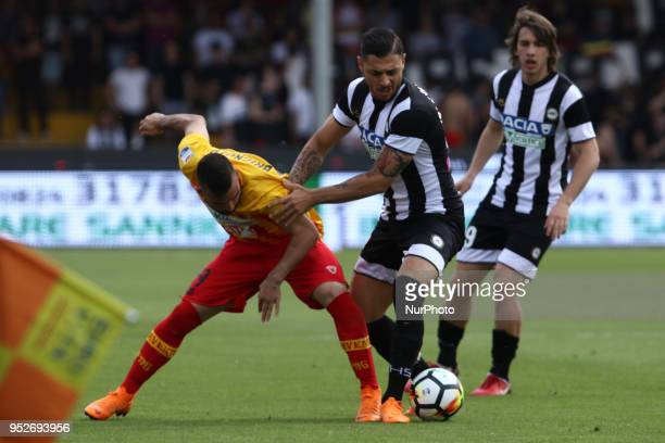 during the Italian Serie A football match Benevento Calcio and Udinese Calcio at Ciro Vigorito Stadium in Benevento on April 29 2018