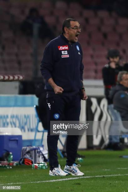 during the Italian Serie A football SSC Napoli v SS Lazio at S Paolo Stadium in Naples on February 10 2018